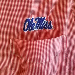 Antigua OleMiss Button Down Red Checkered Shirt
